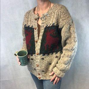 Vintage 100% Wool Reindeer Cardigan Sweater